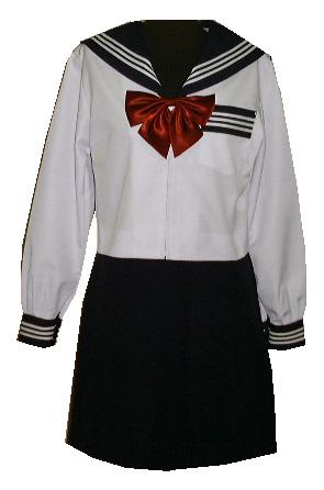 SN05Big衿・カフス・P紺色白3本線・夏長袖セーラー服 BIGサイズ