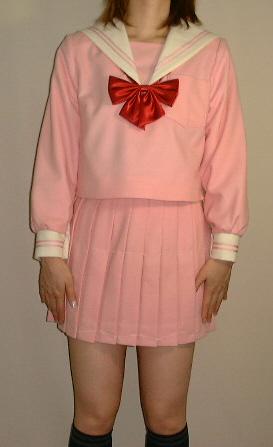 WP02クリーム衿ピンクセーラー服