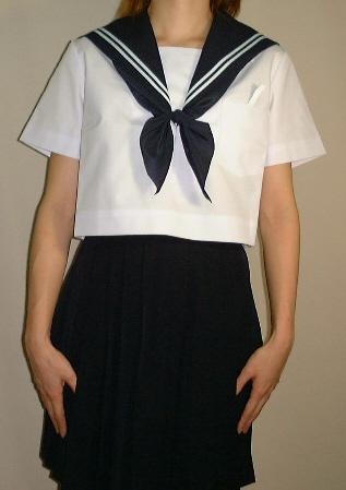 SH14Big衿紺色・白2本線胸当付半袖セーラー服Bigサイズ