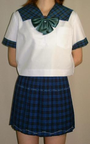SH23Big変形衿・カフス チェック柄半袖セーラー服Bigサイズ
