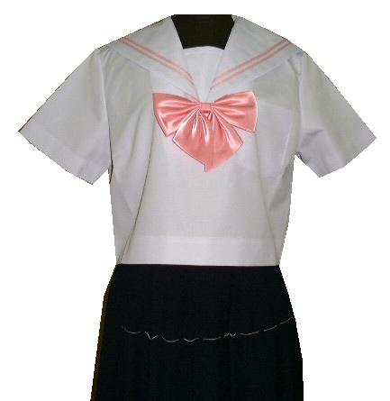 SH33Big衿白色、ピンク2本線半袖セーラー服Bigサイズ