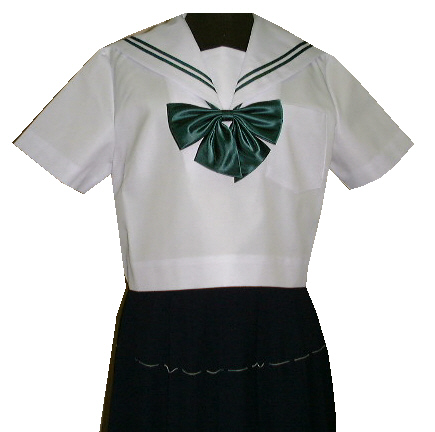 SH35Big衿白色、グリン2本線半袖セーラー服Bigサイズ