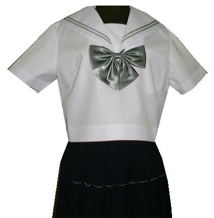 SH36Big衿白色、グレー2本線半袖セーラー服Bigサイズ