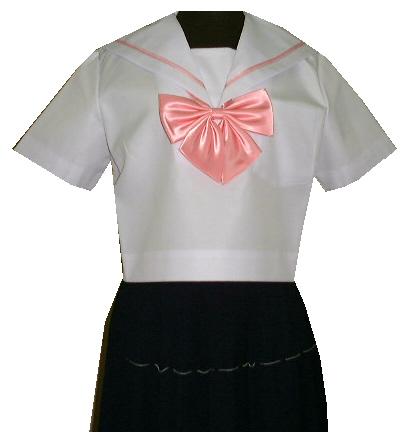 SH37Big衿白色ピンク1本線半袖セーラー服Bigサイズ