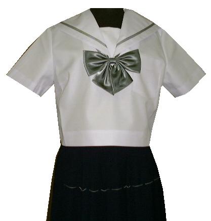 SH40Big衿白色グレー1本線半袖セーラー服Bigサイズ