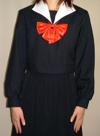 W03白変形衿紺セーラー服 Bigサイズ