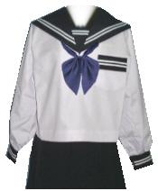 SN01Big衿・カフス・胸当・P紺色白2本線夏長袖セーラー服 Bigサイズ