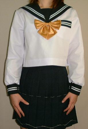 SN13Big衿・カフス・Pグリン白2本線胸当付夏長袖セーラー服Bigサイズ