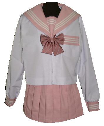 SN09Big衿・カフス・胸当・Pピンク白3本線夏長袖セーラー服Bigサイズ
