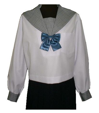 SN04Big衿・カフス・胸当チェック柄夏長袖セーラー服Bigサイズ