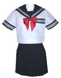 SH07Big衿白2本・カフス,P紺色白3本線胸当付半袖セーラー服Bigサイズ