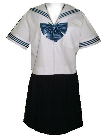 SH29Big衿・カフス白色、紺3本線半袖セーラー服Bigサイズ