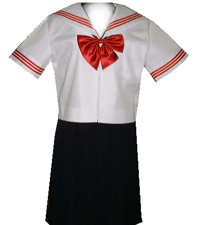 SH30Big衿・カフス白色、赤3本線半袖セーラー服Bigサイズ