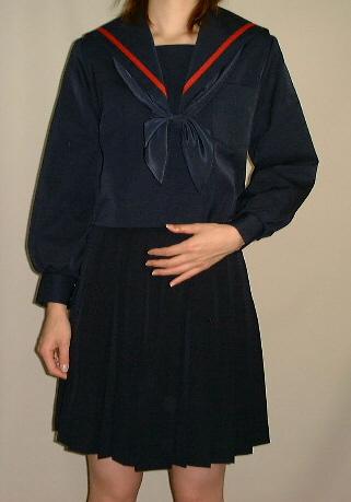 W20冬・紺色セーラー服衿アカ1本ライン