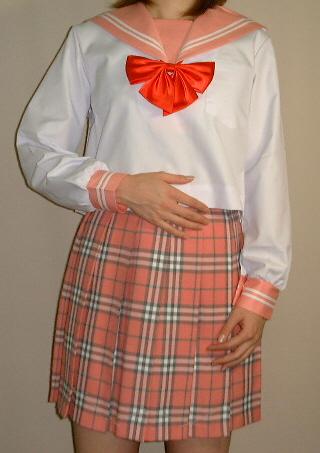 SN10Big衿・カフス、ピンクに白2本線夏長袖セーラー服Bigサイズ