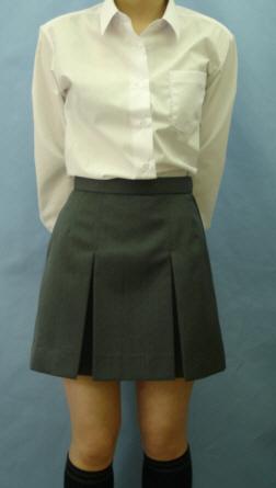 02BX-G01おしゃれなグレー無地2本BOXスカート