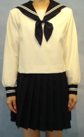 W29Bigアイボリー色紺衿・カフス胸当付き白2本線セーラー服 BIGサイズ