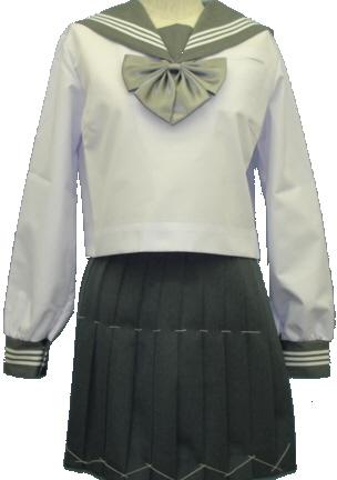SN37Big衿・カフスグレー:白3本線胸当付夏長袖セーラー服Bigサイズ