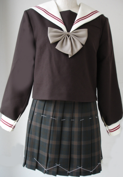 WCHA01おしゃれなこげチャセーラー服衿・カフスエンジ2本線