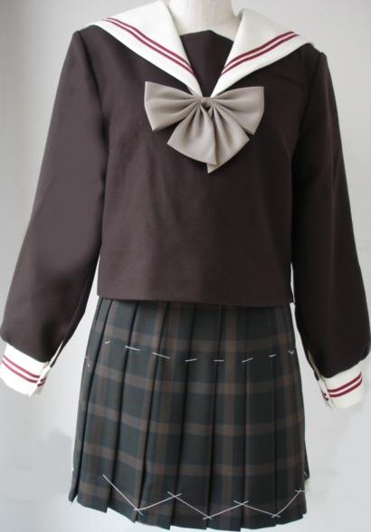 WCHA01Bigおしゃれなこげチャセーラー服衿・カフスエンジ2本線 BIGサイズ