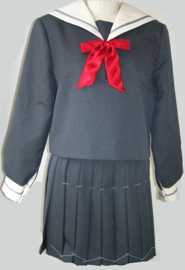 WGR101Bigおしゃれなグレーセーラー服衿・カフスグレー1本線 Bigサイズ