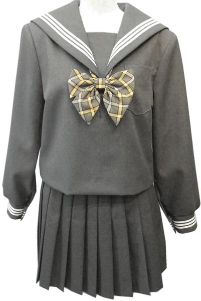 WGR22おしゃれなグレー冬セーラー服衿・カフス白3本線