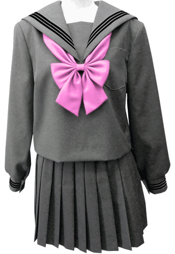 WGR22-5おしゃれなグレー冬セーラー服衿・カフスクロ3本線