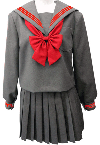 WGR22-7おしゃれなグレー冬セーラー服 衿·カフスアカ3本線