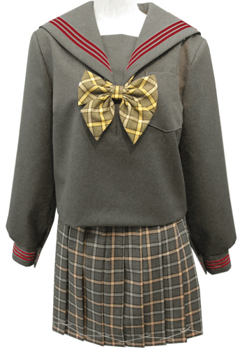 WGR22-8おしゃれなグレー冬セーラー服衿・カフスエンジ3本線