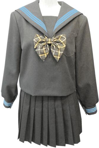 WGR22-3おしゃれなグレー冬セーラー服衿・カフス水色3本線