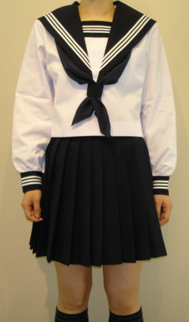 SN24big衿深め 夏長袖セーラー服ビッグサイズ紺色 衿・カフス・胸当白3本線