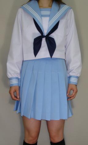 SN26big衿深め・夏長袖セーラー服ビッグサイズ水色衿・カフス・胸当て白3本線