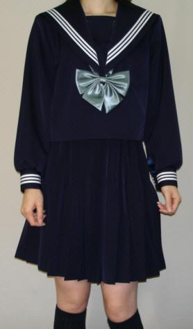 W22BIG衿深め 紺セーラー服 ビッグサイズ衿・カフス・白3本線