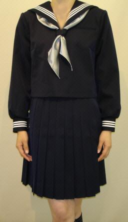W13BIG紺セーラー服 BIGサイズ白3本線