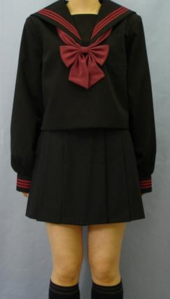 Teen-WK02黒色セーラー服赤3本線高校生 学生 中学 女子高生 進学 学校スクール ネイビー 紺 無地