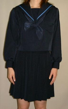 W10big紺セーラー服 ビッグサイズ衿ブルー1本ライン