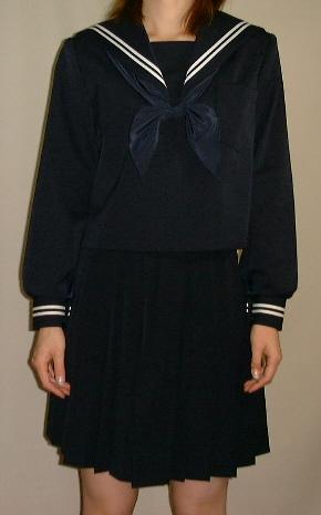 W01big紺セーラー服ビッグサイズ衿・袖 白2本線