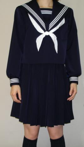 W21衿深め 紺セーラー服衿・袖・胸当て 白3本線