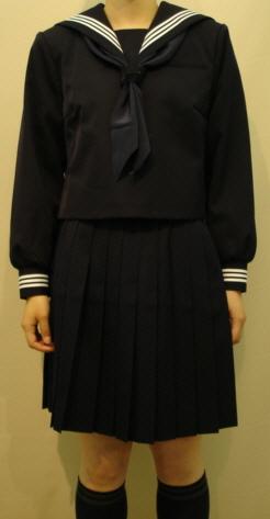 W28big紺セーラー服 ビッグサイズ衿・袖 白3本線