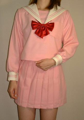 Teen-WP02 ピンクセーラー服Bigサイズクリーム衿高校生 学生 中学 女子高生 進学 学校スクール ネイビー 紺 無地
