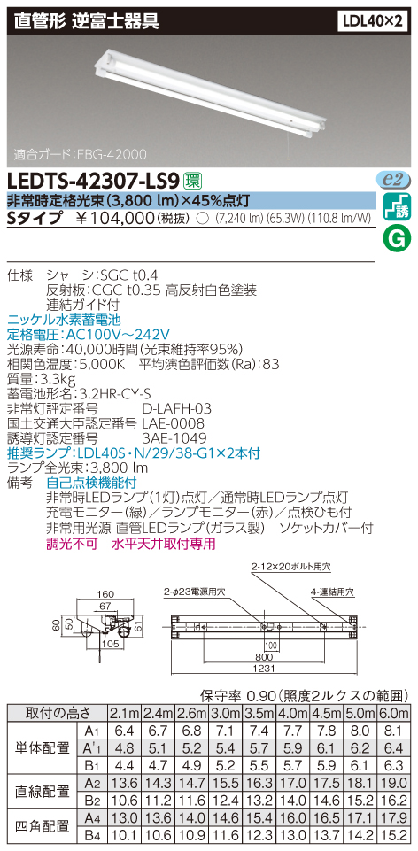 東芝 LEDTS-42307-LS9 『LEDTS42307LS9』 LED 非常用照明器具 LDL40×2 非常時定格光束(3,800 lm)×45%点灯 逆富士器具 ランプ付