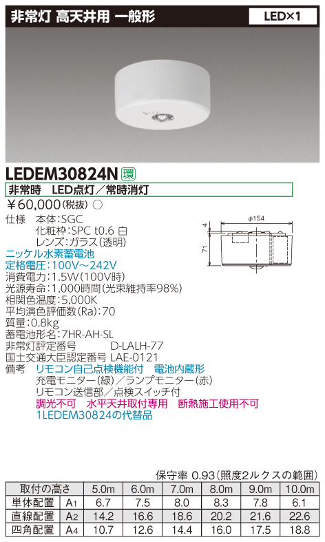 LED 東芝 LEDEM30824N 高天井用直付LED非常灯専用形