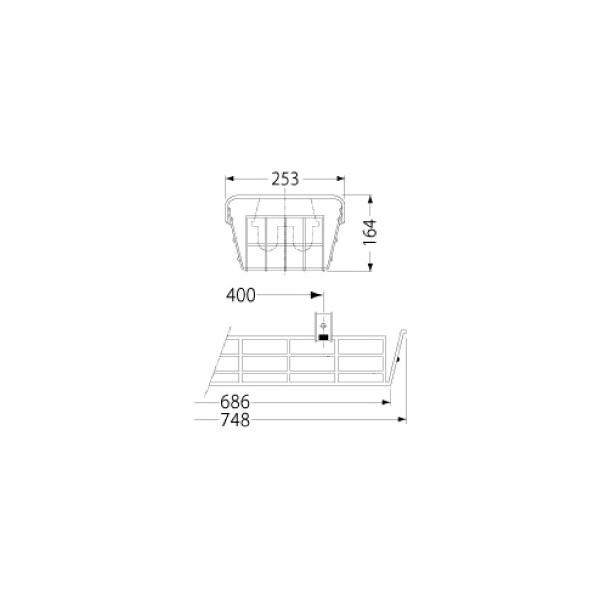 岩崎電気 PF21514 ガード LEDベースライト(20Wタイプ)用(ステンレス製)