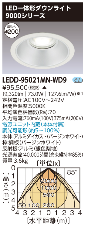 LED 東芝 LEDD-95021MN-WD9 (LEDD95021MNWD9) 無線制御一体形DL9000 LED一体形ダウンライト