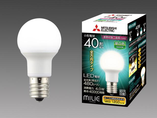三菱電機 10個入 LDA4N-G-E17/40/S-PS 昼白色 LEDランプ 断熱材施工対応 全方向 小型電球40形 口金E17 『LDA4NGE1740SPS』