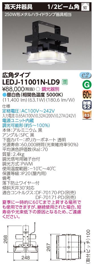 LED 東芝 TOSHIBA LEDJ-11001N-LD9  (LEDJ11001NLD9) MF250W広角HS高天井器具