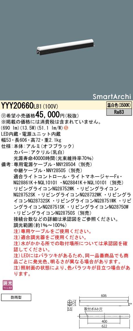 パナソニック YYY20660 LB1(YYY20660LB1) 建築化照明器具 LED(温白色) 受注生産品