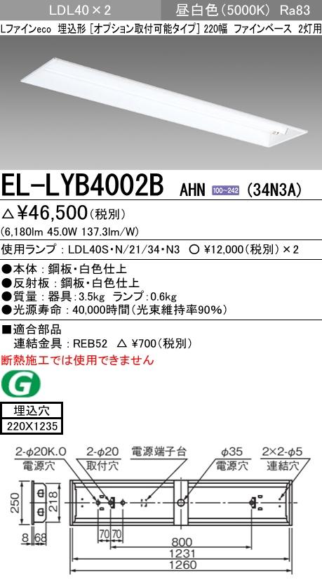 在庫処分 条件付き送料無料 Lファインecoシリーズ LDL40タイプ 埋込形 セール特価品 三菱電機 EL-LYB4002B AHN 34N3A LDL40 220幅 2灯用 昼白色 埋込穴220X1235 ランプ付 ファインベース 固定出力 オプション取付可能タイプ 3400lmクラス