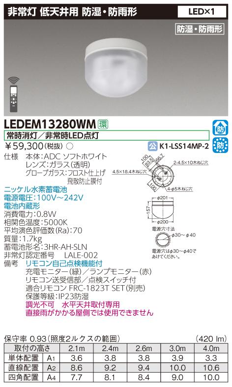 東芝 LEDEM13280WM (LEDEM13280WM) 直付防湿防雨形低天LED非常灯専用形 LED非常用照明器具 (専用)