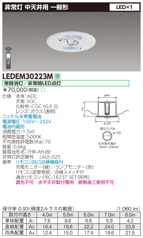 限定在庫4台 東芝 LEDEM30223M (LEDEM30223M) 中天井用埋込LED非常灯専用形 LED非常用照明器具(専用)